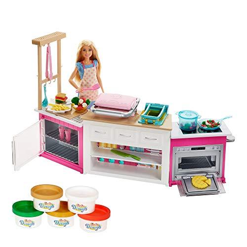 Barbie-FRH73 Barbie Quiero Ser Superchef, Muñeca Rubia con Cocina y Accesorios, multicolor...