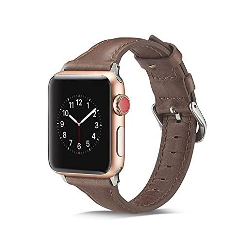 KAEGREEL Correa Compatible con Apple Watch 38 mm 44 mm para Mujeres Hombres, Correa de Repuesto Deportiva Delgada Delgada de Cuero Suave para Apple Watch/iWatch SE Series 6 5 4 3 2 1,5,38mm/40mm