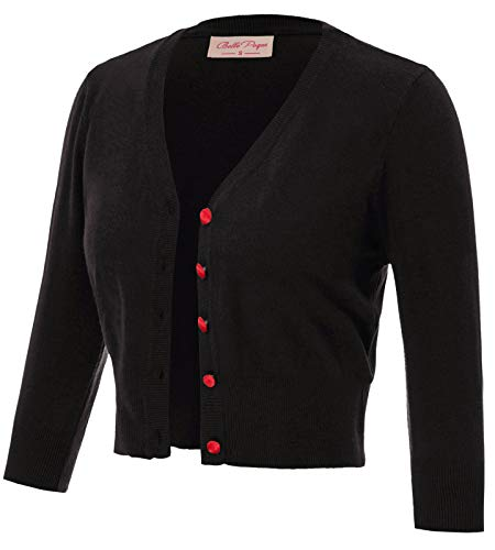 Women's Cardigan Sweaters for Women V-Neck Button Down Cropped Cardigan 3/4 Sleeve Classic Knit Cardigans Black Size S BP928-1
