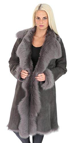 A1 FASHION GOODS Damen Super Toscana Langer Mantel Real Schaffell GRAU Shearling Wildleder Finish Jacke - Pamela (S - EU 36)