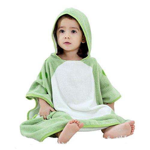COOKY.D Serviette de Bain de Plage Nage à Capuchon pour Enfants 100% Doux Coton Poncho Changement Robe pour Filles Garçons 0-6 Ans, 70X70cm, Vert