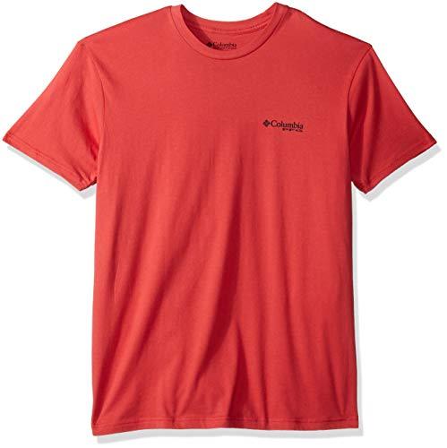 Columbia Apparel Men's Standard PFG Graphic T-Shirt, Sunset red/Volante, X Large