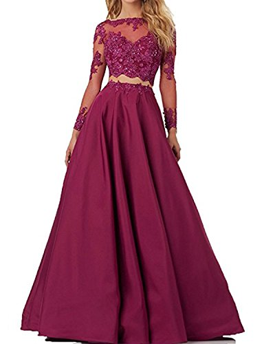 Tianshikeer Brautkleid Zweiteilig Spitze Glitzer Satin Lang Sexy Hochzeitskleid 2 Teilig Burgund 38