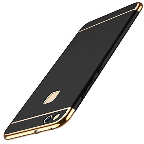 Huawei P10 Lite Hülle, Huawei P10 Lite Handyhülle Ultra Slim Case Hart PC Hard Hardcase 360 Grad Schutzhülle Bumper Cover Plastik Schutz Tasche Schale für Huawei P10 Lite Case Cover (3 in 1 Schwarz)