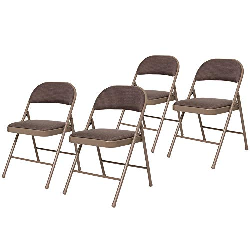 OEF Furnishings (4 Pack) Fabric Upholstered Steel Folding Chair, Star Trail Brown