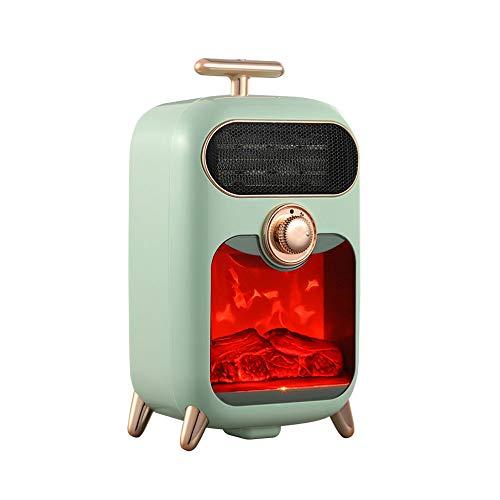 JDH Lüfterheizung, Retro 3 Gänge Verstellbarer tragbarer persönlicher Raum Leiser Thermostat mit Kipp- / Überhitzungsschutz, für Zuhause/Büro/Küche/Schlafzimmer, Grün