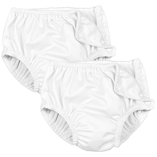 Iplay 2 Pack White Swimsuit Diaper with Snap 3T
