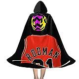 YRUI Nba Star Den-Nis Rod-Man - Capa con capucha para disfraz de Halloween, color negro