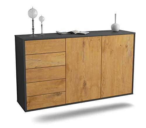 Dekati Sideboard Peoria hängend (136x77x35cm) Korpus anthrazit matt | Front Holz-Design Eiche | Push-to-Open | Leichtlaufschienen