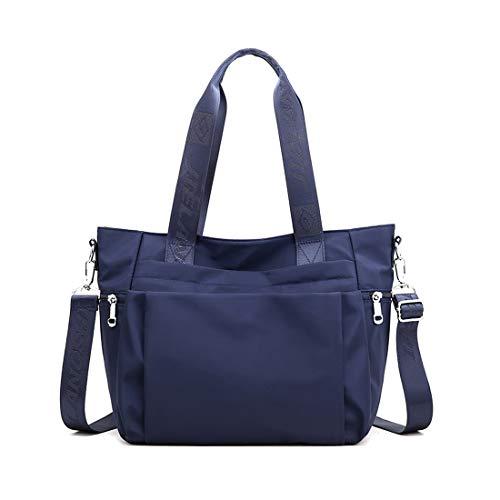YANAIER Damen Handtaschen Schultertasche Wasserdicht Nylon Casual Multifunktionale Umhängetaschen Damen Hobos Schultertasche Shopper Tasche Dunkelblau