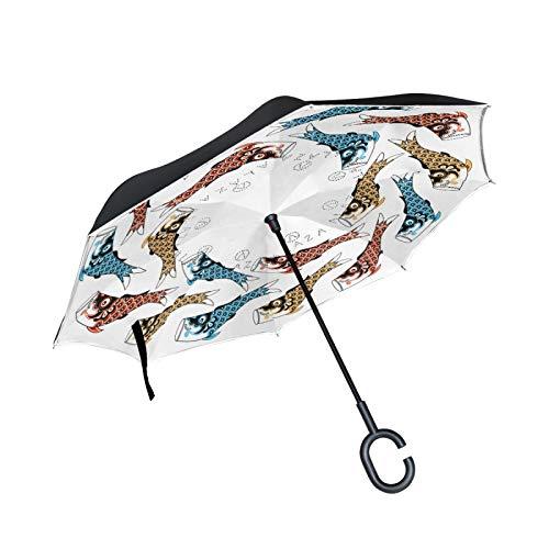 Paraguas invertido de Doble Capa, a Prueba de Viento, para Exteriores, para Lluvia, Sol, para automóvil, con Mango en Forma de C, Cometas de Peces Koinobori (Serpentina de Carpas)