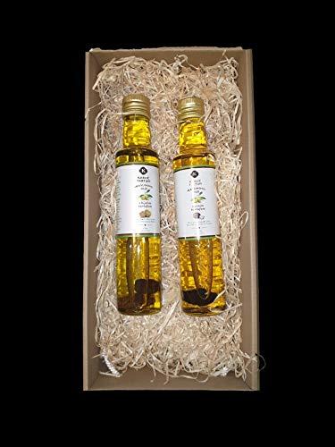 2 x 250ml Trüffelöl mit weißen und schwarzen Trüffel. Ganze Trüffelstücke in der Flasche. PREMIUM Öl aus Istrien, Kroatien
