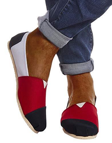 Leif Nelson Herren Espadrilles -Weiße Schuhe für Freizeit Urlaub Freizeitschuhe für Sommer Flache Männer Sommerschuhe Sneaker Weiße Schuhe für Jungen Slipper LN101S; 44, Rot -Weiß