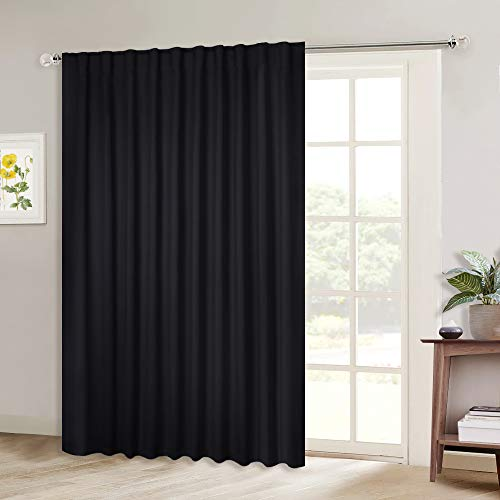 NICETOWN Blackout Curtain for Sliding Door, Patio Door Curtains, Thermal Insulated Wide Drapes/Draperies for Bedroom (Black, 80 by 84 inches, Single Panel)