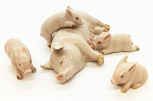 5 pcs Small Pig Ceramic Family Set Miniature Animal Figurine Collections Handmade Decor Gift