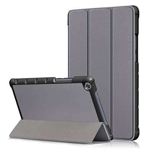 YANGJ Custer Textura Horizontal Flip Funda de Cuero for Huawei MediaPad M5 Lite 8 Pulgadas, con Soporte Plegable de Tres (Negro) (Color : Grey)