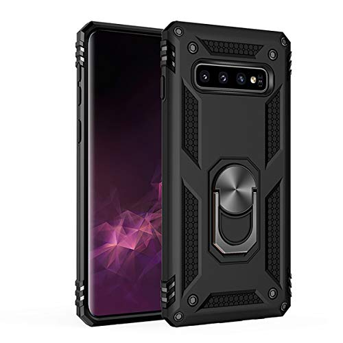 Amuoc Compatible with Samsung Galaxy S10 Plus Case 6.4 Inch (2019),Amuoc [ Military Grade ] 15ft. Drop Tested Protective Case Kickstand -Black