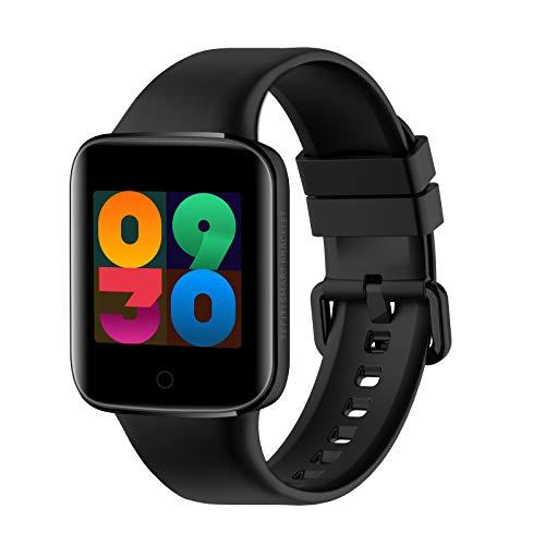 FMSBSC Smartwatch Pulsera Inteligente Reloj Deportativo Medidor de Temperatura Corporal, Pulsómetros, Monitor de Sueño, Presión Arterial, Monitor de Oxigeno para Andriod y iOS,Black
