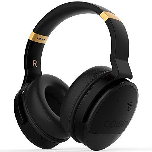 COWIN E8 [Upgraded] Active Noise Cancelling Headphones Bluetooth Headphones with Microphone Wireless Headphones Over Ear - Black (Renewed)