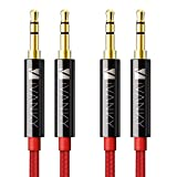 iVANKY Cable Jack Macho Macho 3.5mm [1.2M-2 Pack] Cable Audio Jack Macho Macho con Sonido Hi-Fi, Cable Auxiliar Coche para iPads, iPods, Echo Dot, MP3, Móviles, Auriculares, Altavoz - Rojo, Nylon