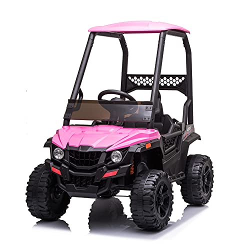 BISHE Powered UTV with Ceiling, Pink Electric Ride-on Car for Kids, Toy Car with LED Headlights, 12V Large Battery Capacity Car Ride-on Toys, Utility Vehicle Toy Ride On with 2.4GHZ Remote Control -  BUS-CARW42229401PK