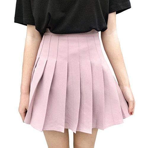 Hoerev Frauen Mädchen Kurze hohe Taille gefaltete Skater Tennis Schule Rock,Pink,34 / S