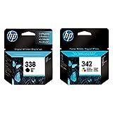 HP 342 C9361EE Pack de 1, Cartouche d'encre d'origine, (Cyan, Magenta, Jaune) & 338 Cartouche d'encre Noir Authentique, pour HP Photosmart 2570/C3170 et HP PSC 1510/1600 (C8765EE)