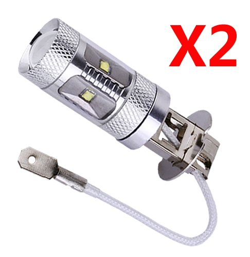 S&D 2 X H3 30W Cree XBD LED 6 Chips Auto/Car/Truck/Vehicle Driving Head Signal Turn Brake Parking Tail DRL Fog Reverse Lights Bulb Lamp light source, Pure White, 6000K, 1000-1400LM,