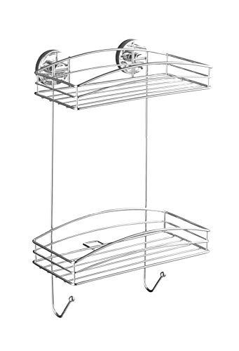 WENKO Vacuum-Loc Wandregal 2 Etagen und 2 Haken, Wandablage ohne bohren, Duschablage mit Vakuum-Befestigung, Regal für Badezimmer und Küche, verchromtes Metall, 26 x 43 x 15 cm