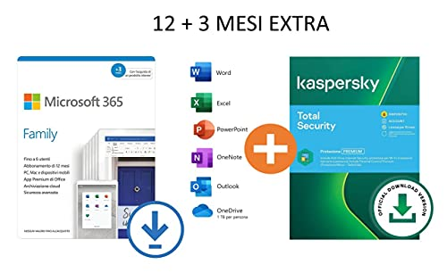 Microsoft 365 Family | Fino a 6 Persone | 12+3 Mesi |PC Mac + Kaspersky Total Security 2021 |6 Dispositivi | 15 Mesi | Codice D Attivazione Via Email