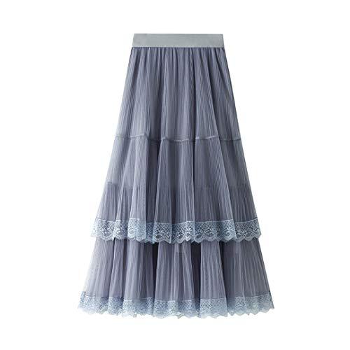 Falda Larga y Bastante Larga Estilo Tul Faldas de Tul Encaje Negro Blanco Rosa Mujer Verano Falda Gray One Size