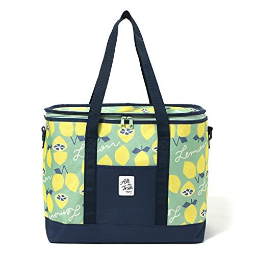 JOKnet 2WAY レモン柄 大容量 保冷バッグ おしゃれ 大きめ かわいい ファスナー クーラーバッグ エコバッグ マチ広 レモンブルーグリーン F