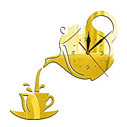 N / A Wall Clock DIY Teapot and Cup Design Acrylic Mirror Modern Wall Clock Tea Kettle Shaped Hanging Clock Watch Kitchen Clock Jug with A Cupideal for Any Room in Home Dining Room Kitchen Office