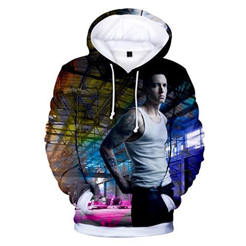 Herren Hoodie,3D Drucken Muster Mode Freizeit Hoodie Für Sänger Eminem Element,Unisex Bequem Atmungsaktiv Polyester Langarm T-Shirt M-4XL,H2,M