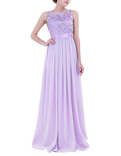 ACSUSS Women's Crochet Lace Chiffon Wedding Bridesmaid Evening Gown Prom Maxi Dress Lavender 16