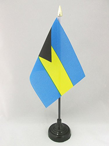 AZ FLAG TISCHFLAGGE Bahamas 15x10cm goldene splitze - Commonwealth DER Bahamas TISCHFAHNE 10 x 15 cm - flaggen