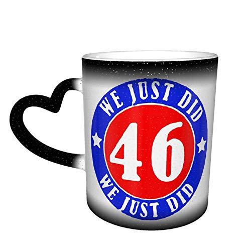 Taza cambiante con diseño de taza de café We Just Did 46, de cerámica sensible al calor, taza cambiante de color en el cielo, 11 oz