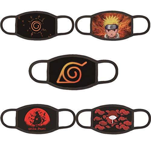 OPENDIY Anime Naruto Face Mask for Kids 3D Print Anime Cartoon Masks - 5Pcs Anti Dust Protection Balaclava