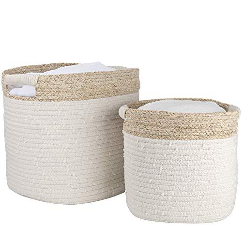 Cesta ropa sucia de algodón, cesta almacenaje de cuerda de algodón con piel de maíz, cesta ropa sucia bebe, Regalo de decoración para el hogar, 36 x 29.5 x 29.5 cm, Blanco, estampado beige, Set 2