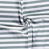 0,5m Jersey Ringel 10mm weiß-Mint 022 95% Baumwolle 5%
