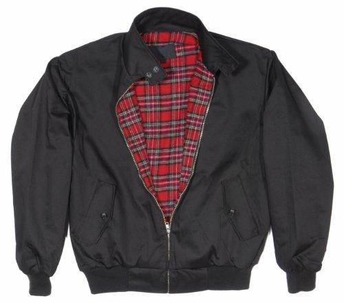 """""""harrington"""" veste avec doublure à carreaux twill qualité s/s noir"""