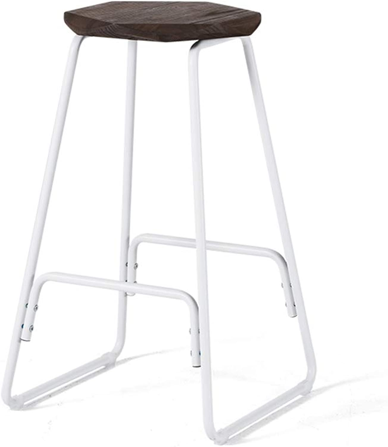 Chairs Simple Wrought Iron high Stool Home bar Chair Coffee Chair Retro bar Stool 39x39x66.5cm (color   Brown)