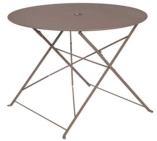 PEGANE Table Ronde Pliante en métal, Coloris Crema - Dim : D100 x 70cm