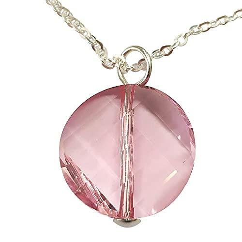 Sicuore Colgante Collar de Plata con Cristales de Swarovski (Rosa) - Plata De Ley 925 Incluye Cadena 45cm Y Estuche para Regalo