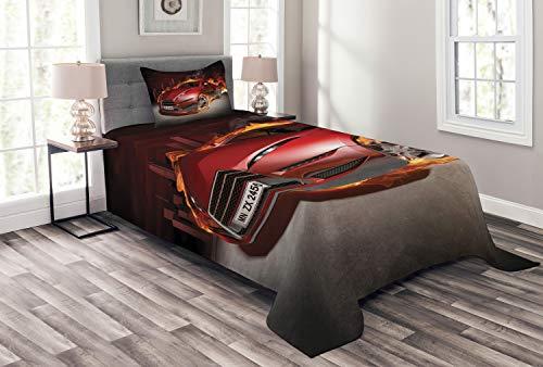 ABAKUHAUS Autos Tagesdecke Set, Burnout Reifen Sportwagen, Set mit Kissenbezügen Sommerdecke, für Einselbetten 170 x 220 cm, Orange Schwarz Rot
