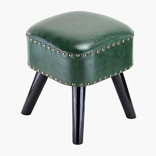 Fußhocker Ottoman Square Chair Fußhocker Mit Kunstöl Wachs Lederbezug Handgefertigte Nieten Randversiegelnder Low Pouffe Sofahocker Für Kinder Mit Holzbein (Farbe: 07)
