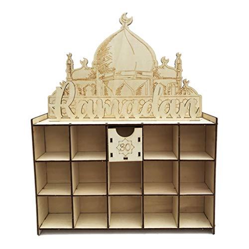 KunmniZ Cajón de madera Ramadán decoración Eid Mubarak calendario de Adviento cuenta regresiva musulmana DIY decoración familiar