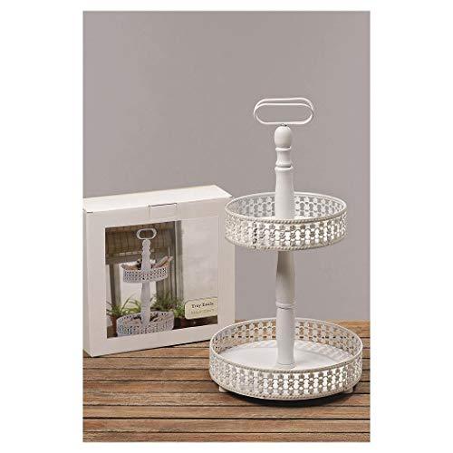 Emilia Présentoir à gâteaux 2 étages en bois blanc, env. 46 cm x 26 cm x 20cm