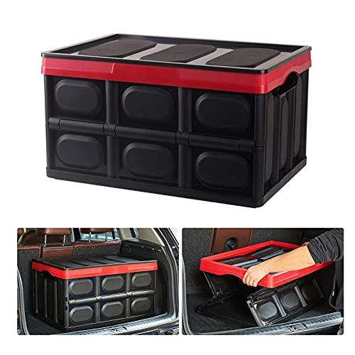 Huijieyuan - Scatola portaoggetti per bagagliaio da 55 l, organizer per bagagliaio auto, facile da trasportare e capiente, impermeabile, pieghevole, con fondo antiscivolo