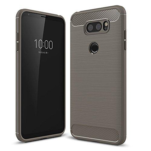 Capa fina XYX para LG V30, [fibra de carbono cinza] Capa protetora fina texturizada antiarranhões para LG V30 / LG V35 ThinQ/LG V30 Plus/LG V30S ThinQ